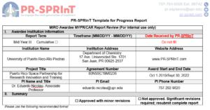 Template Progress Report